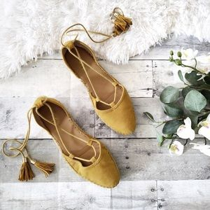 Shoes - LAST PAIR Spring Yellow Lace Up Espadrilles 9 1/2